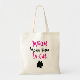 Meow Means Woof In Cat Budget Tote Bag