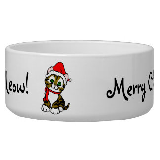 Meow Meow Meow Merry Christmas Cat Food Bowl
