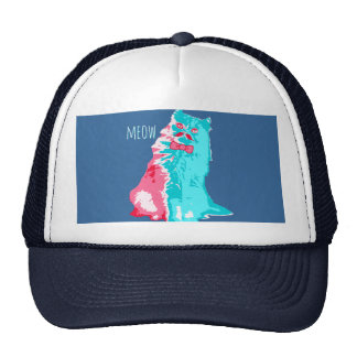 Meow Mustache Kitty Mesh Hat