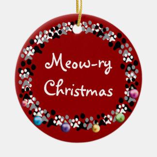 Meow-ry Christmas Round Ceramic Decoration