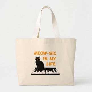 Meow-sic Is My Life Canvas Bags