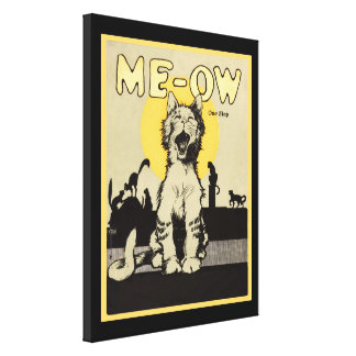 Meow  Singing Cat Cute Kitty Cate Night Stalkers Gallery Wrapped Canvas