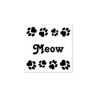 """Meow"" Square Rubber Stamp with Paw Prints"