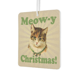 Meow-y Christmas, Cute Funny Holiday Cat Animal Car Air Freshener