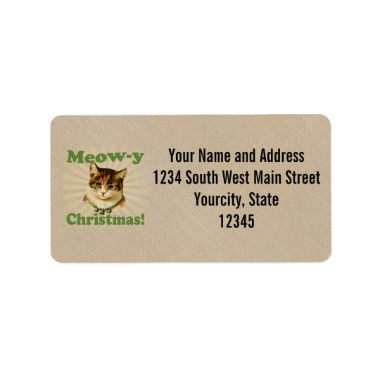 Meow-y Christmas, Cute Holiday Cat Animal Address Label