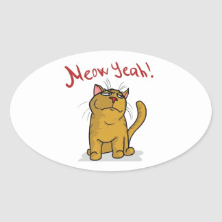 Meow Yeah - Oval Stickers