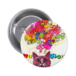 Meowing Psychedelic Cat 6 Cm Round Badge