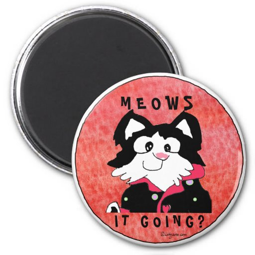 Meows It Going Cartoon Cat Accessories Magnets