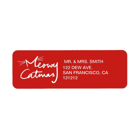 Meowy Catmas Custom Cat Christmas Return Address