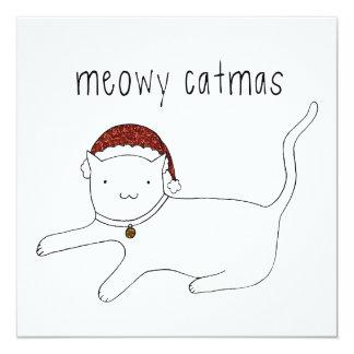 Meowy Catmas flat card 13 Cm X 13 Cm Square Invitation Card