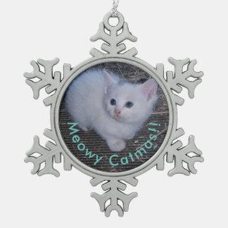 Meowy Catmas Snowflake Pewter Christmas Ornament