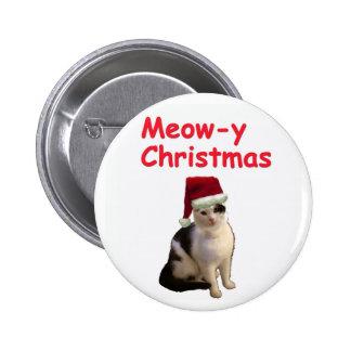 Meowy Christmas 6 Cm Round Badge