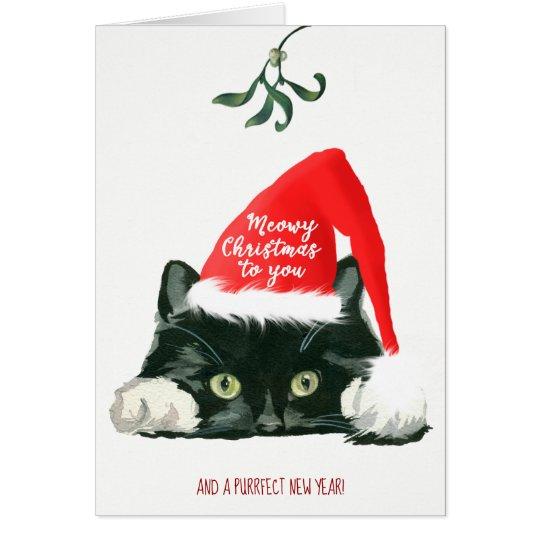 meowy christmas card cute cat holiday xmas