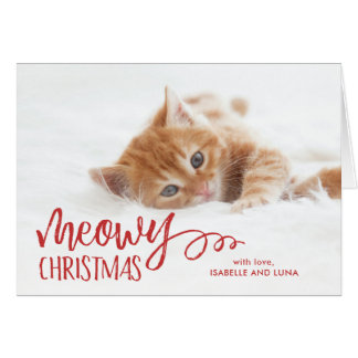 Meowy Christmas Cat Pet Holiday Folded Photo Card