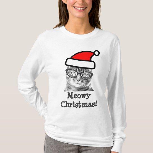 Meowy Christmas cat t shirt | Cute Santa
