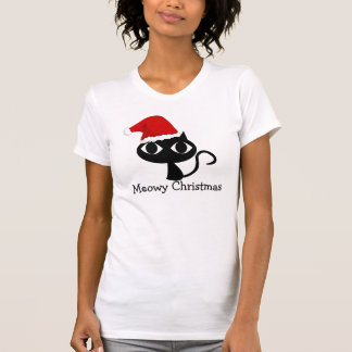 Meowy Christmas, Cat with Santa Hat T-shirt