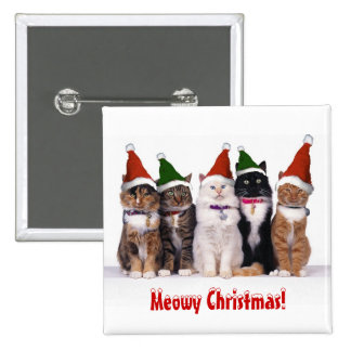 """Meowy Christmas!"" Cats In Hats 15 Cm Square Badge"