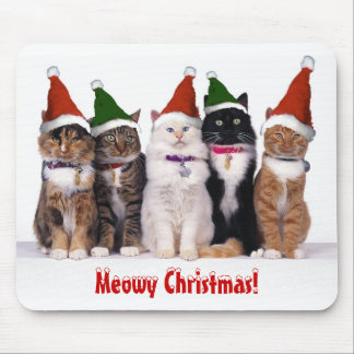 """Meowy Christmas!"" Cats In Hats Mouse Pad"