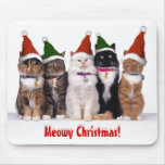 """""""Meowy Christmas!"""" Cats In Hats Mousepad"""