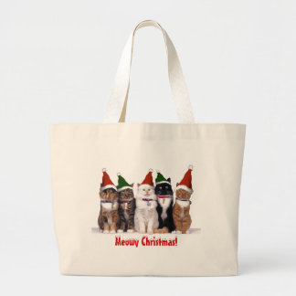 """Meowy Christmas Cats"" Large Tote Bag"