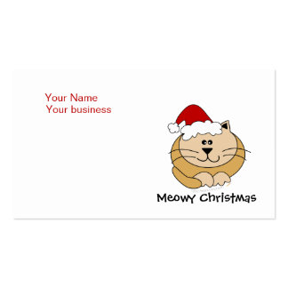 Meowy Christmas Cute Cartoon Cat Custom Pack Of Standard Business Cards