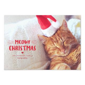Meowy Christmas | Cute Cat Holiday Photo Card 13 Cm X 18 Cm Invitation Card