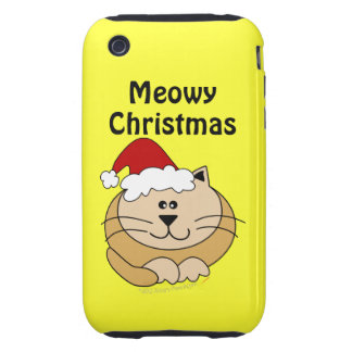Meowy Christmas Cute Fat Cartoon Cat iphone 3g iPhone 3 Tough Cases