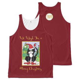 Meowy Christmas Cute Tuxedo Cat Monogram Holiday All-Over Print Tank Top