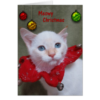 Meowy Christmas - Flame Point Siamese Card
