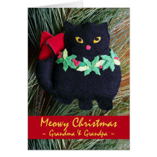 Meowy Christmas for Grandparents, Cat Ornament Greeting Card