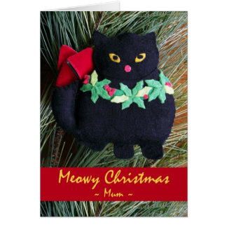 Meowy Christmas for Mum, Cat Ornament Card