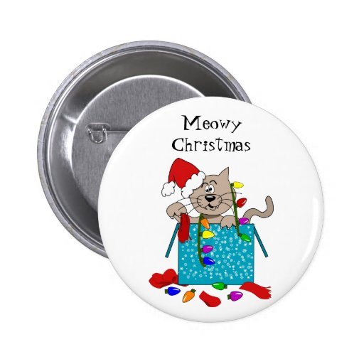 Meowy Christmas Funny Cartoon Cat Custom Button