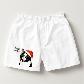 Meowy Christmas Funny Jingle Bells Cat Boxers
