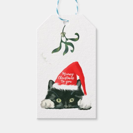 meowy christmas holiday cat in santa hat tags