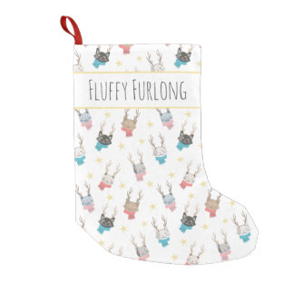 'Meowy Christmas' Holiday Cats In Antlers Custom Small Christmas Stocking