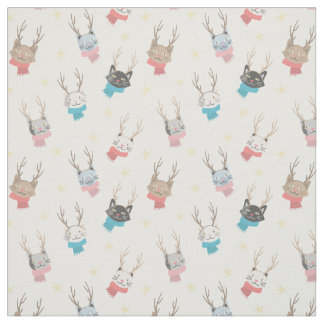 'Meowy Christmas' Holiday Cats In Antlers Pattern Fabric