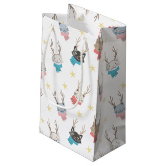 'Meowy Christmas' Holiday Cats In Antlers Pattern Small Gift Bag