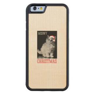 Meowy Christmas - - Holiday Humor Carved® Maple iPhone 6 Bumper