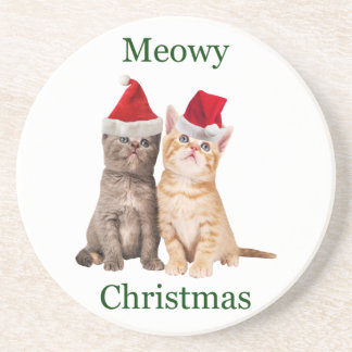Meowy Christmas Kitten Coaster