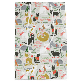 Meowy Christmas Medium Gift Bag