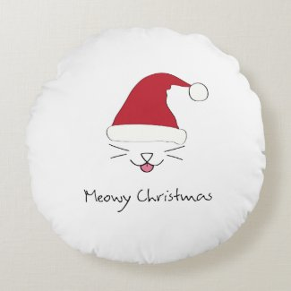 Meowy Christmas purfect holiday round throw pillow