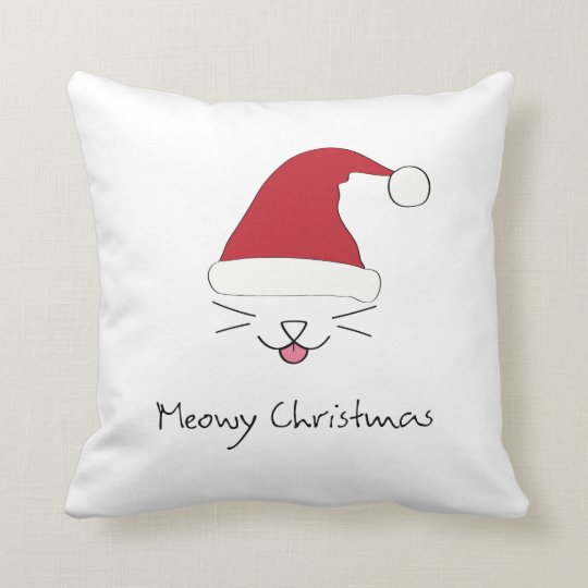 Meowy Christmas purfect throw pillow this holiday