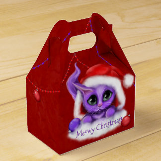 Meowy Christmas Purple Cat Favour Box
