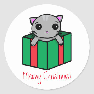 Meowy Christmas Round Sticker