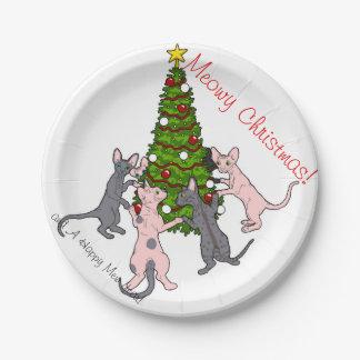 Meowy Christmas! Sphynx and Bambino plates