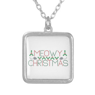 Meowy Christmas Square Pendant Necklace