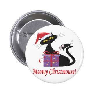 Meowy Christmouse 6 Cm Round Badge