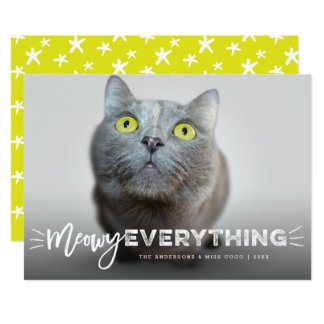 Meowy Everything Cat Lover Cute Holiday Photo Card 13 Cm X 18 Cm Invitation Card