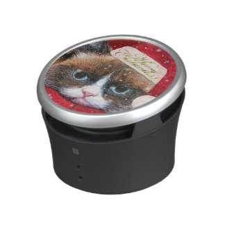 Meowy Santa Cat Christmas custom portable speaker