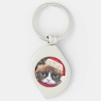 Meowy Santa Cat Christmas Swirl Keychain